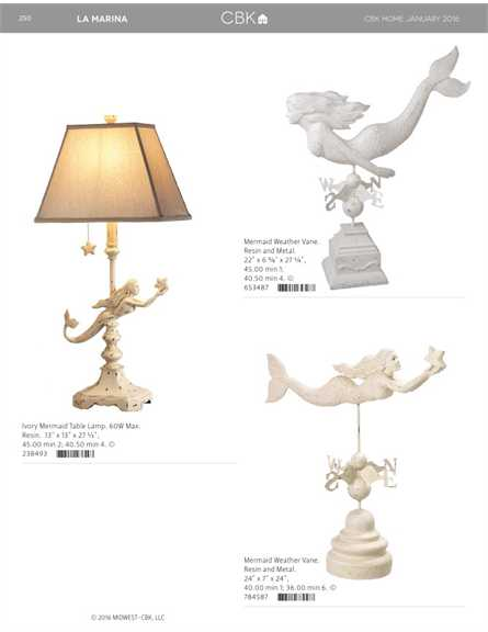 Ivory Mermaid Table Lamp. 60W Max. Resin. 13 X 13 X 27 1/2, 45.00 Min 2;  40.50 Min 4. © 238493 111111111111111111111111111111. Mermaid Weather Vane.