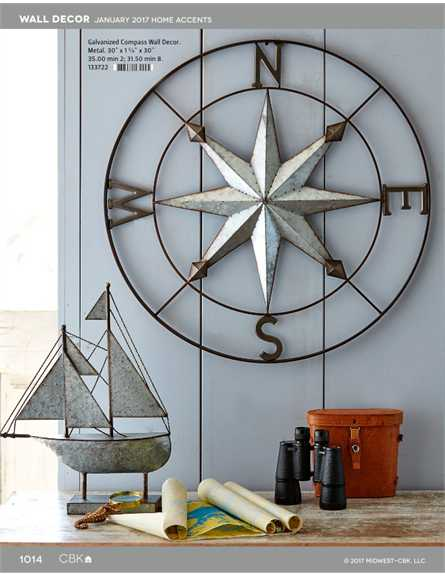 133722 Galvanized Compass Wall Decor