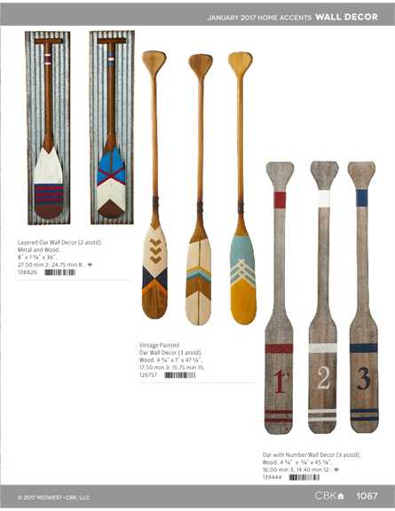 126757 Vintage Painted Oar Wall Decor